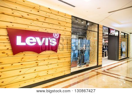 KUALA LUMPUR MALAYSIA May 20 2016: Levi's outlet at KLCC Kuala Lumpur. Founded in 1853 Levi Strauss is an American clothing company known worldwide for its brand of denim jeans.