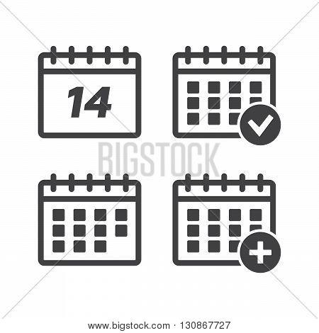 Calendar icons set vector illustration. Calendar black logo. Calendar icons sign eps10