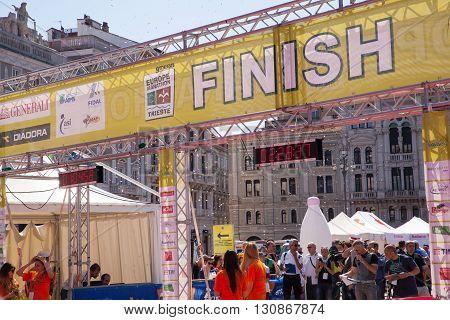 TRIESTE ITALY - MAY 08: Finish line of the Bavisela half marathon in Trieste on May 08 2016