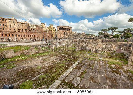 The famous ruins of the Trajan's Forum, Foro di Traiano, in Rome, Lazio, Italy.