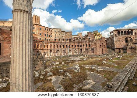 The Portici Laterali of the famous ruins of the Trajan's Forum, Foro di Traiano, in Rome, Lazio, Italy.