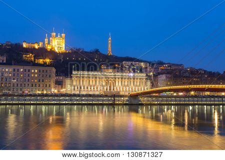 Lyon Notre-Dame de Fourviere Basilica with Saone river night, France