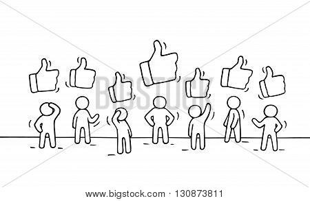 Sketch of working little people with like signs. Doodle cute miniature scene of workers. Hand drawn cartoon vector illustration for business and web design.