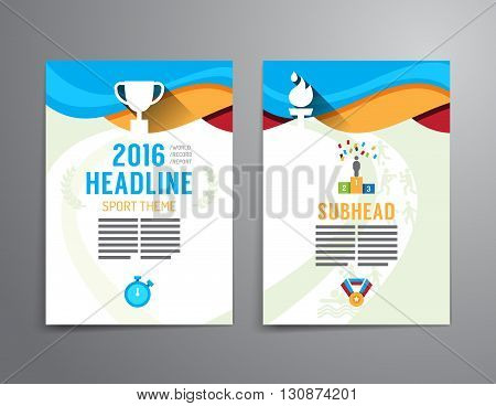 Vector brochure flyer magazine cover booklet poster design template.layout sport annual report A4 size.