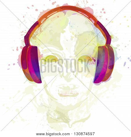 Cover for concept music. An abstract watercolor vector for man relaxing and listening music with headphones. Realistic art design of object with highlights and shadows. Artistic handdraw illustration.
