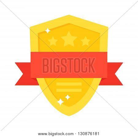 Shield shaped trophy award box and gold Shield award. Shield award vector trophy winner prize and shield award with red ribbon. Gold shield award decorative shiny honor shape medallion vintage emblem.