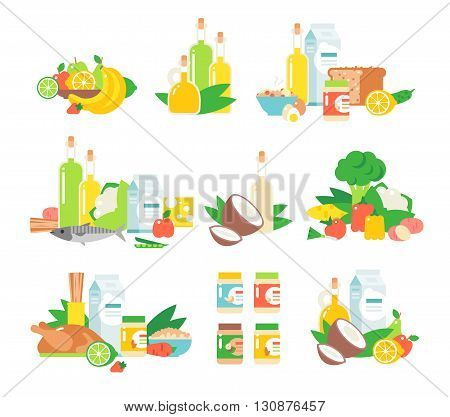 Set of traditional food icons and food vector. Food vector design restaurant lunch and food vector tasty snack eat fish flat element. Food vector cheese junk fast food, traditional food vector dishes.