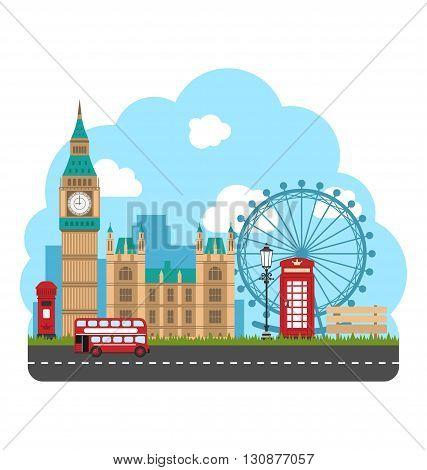 Illustration Design Poster for Travel of England. Urban Background. Concept of Travel and Tourism Banner. Famous Landmarks - Vector