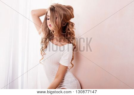 Sensual Romantic Girl At Morning.