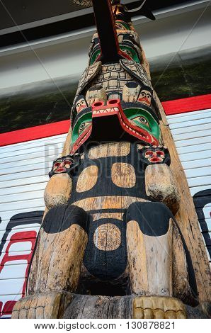 Hull Canada - May 21 2016: Wooden totems motifs in Canadian museum of history in Hull.
