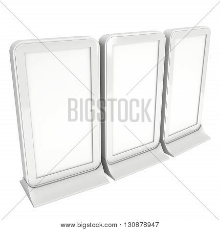 LCD Screen Floor Stand Group. Blank Trade Show Booth. 3d render of lcd screen isolated on white background. High Resolution Floor Stand. Ad template for your expo design.