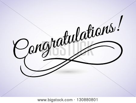 Congratulations. Beautiful greeting card poster with calligraphy black text word. Hand drawn design elements. Handwritten modern brush lettering white background isolated. Vector illustration EPS 10