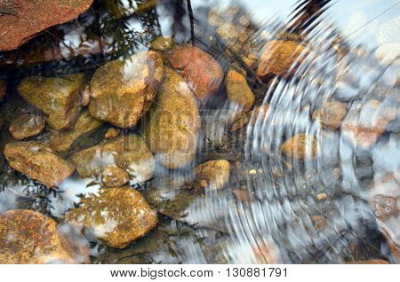 River pebbles under tranquil ripples in stream water