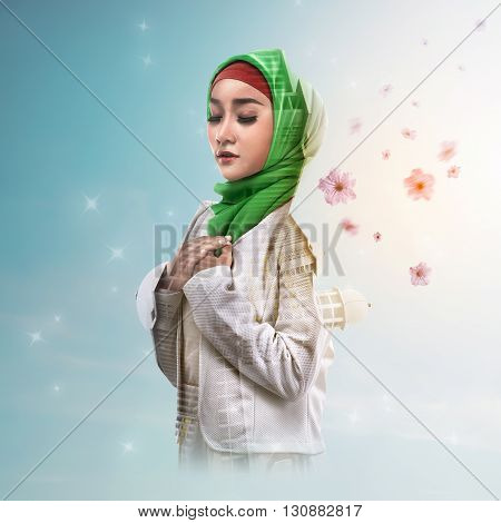 Double Exposure Muslim Woman With Mosque And Flower