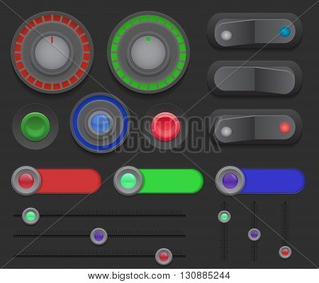 Big set of switches buttons sliders on a dark background. Vector element for web sites banners and your design