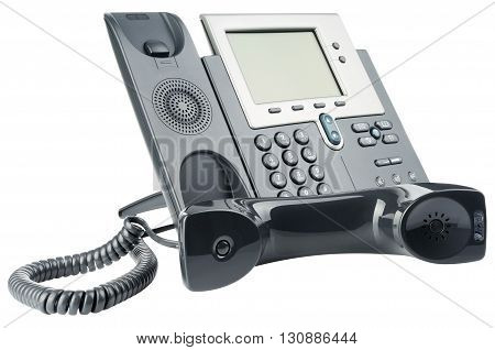 Office IP telephone set off-hook isolated on the white background