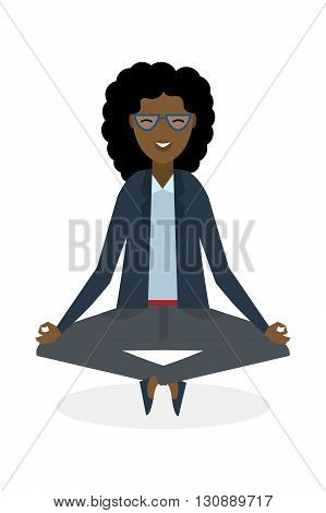 Businesswoman in lotus pose on white background. Isolated african american businesswoman. Concept of recreation, concentration and meditation. Yoga pose.