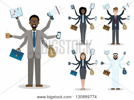 Multitasking african american, caucasian and arabian businessmen and women on white background. Successful businessmen. Workaholic. Talented and professional. Leadership. Set.