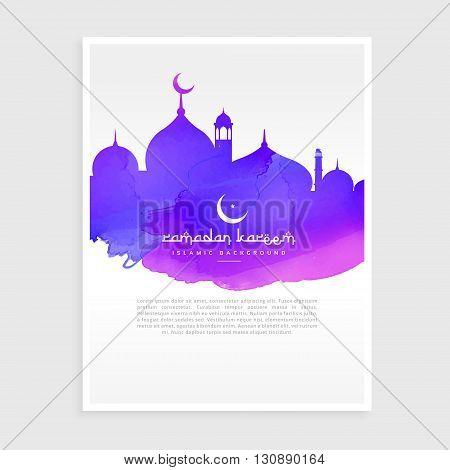 colorful ink style ramadan kareem flyer poster vector design illustration