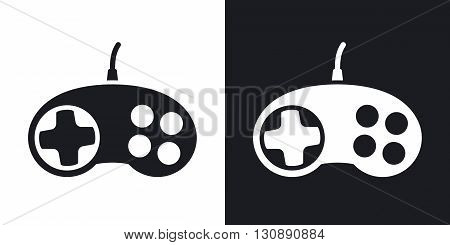 Vector gamepad icon. Two-tone version on black and white background