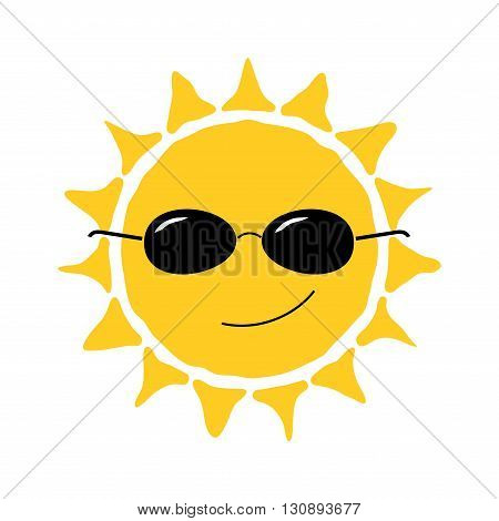 Happy sun fun icon. Cute smiling sign with sunglasses. Cartoon design. Yellow element isolated on white background. Symbol of weather heat sunny and sunlight smile relaxation. Vector illustration