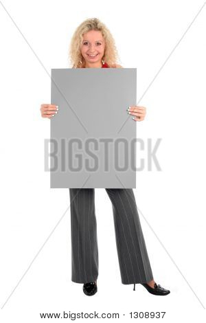 Woman Holding Blank Poster Board