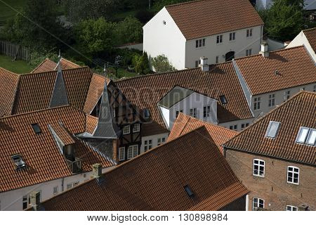 Ribe view from Cathedral Tower - old houses and courtyard gardens in Ribe Jutland Denmark.