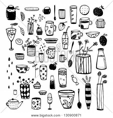 Crockery and dishware big set of items for designer. Vector cartoon isolated objects.
