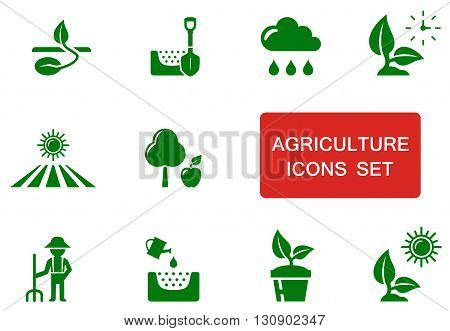 set of green agriculture icon with red accent