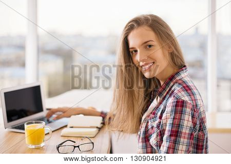 Girl At Desk Portrait