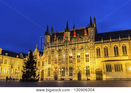 City Hall Old Civil Registry and the Liberty of Bruges in Burg Square in Burges in Belgium
