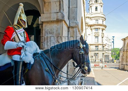 London England - July 1 2008: A sentry of the Horse Guards palace