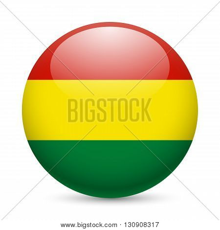 Flag of Bolivia as round glossy icon. Button with Bolivian flag