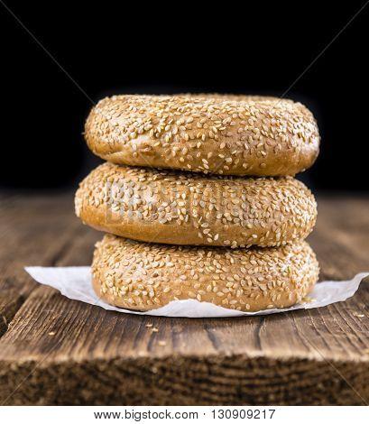 Fresh Bagels With Sesame (close-up Shot; Selective Focus)