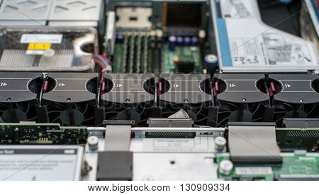 Inside Of Server Pc. Motherboard With Many Cooler Fans.