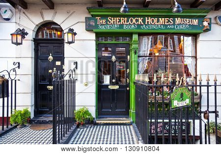 London England - January 27 2012: The entrance of the Sherlock Holmes house and museum in Baker street