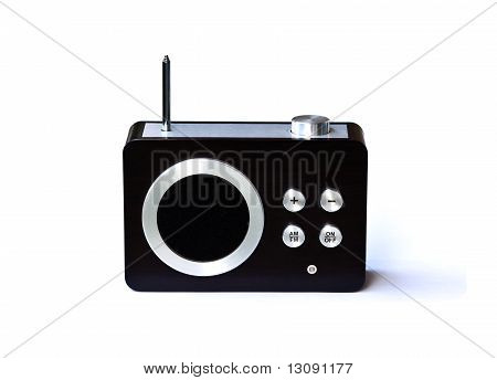 Old Small Radio Receiver With Antenna Isolated On White Backgrou