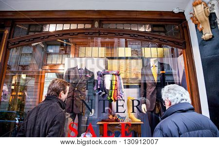 London England - January 28 2012: The James Bond's places the Turnbull & Asser shirtmaker in Jermin street