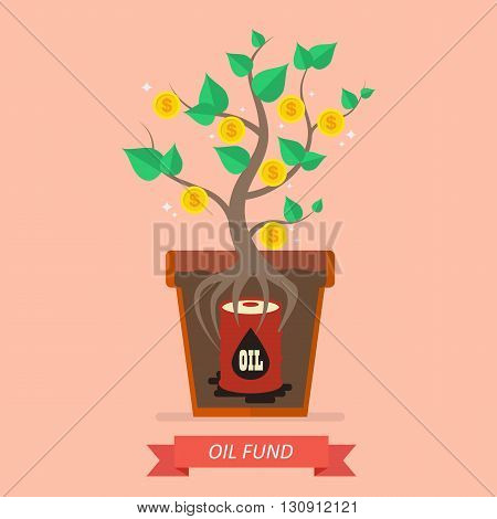 Passive income from oil fund. Business concept