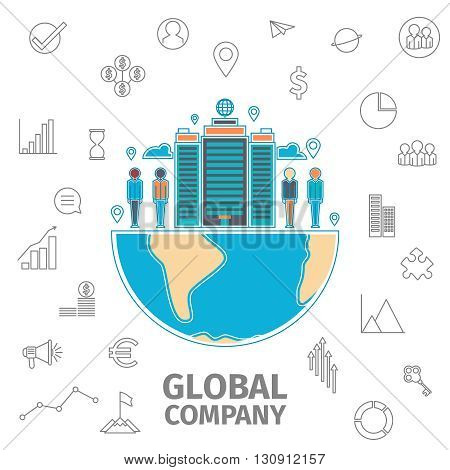 Thin Line concept of global company. Global business icons set. Corporation and people of different races on the globe. Flat line vector illustration