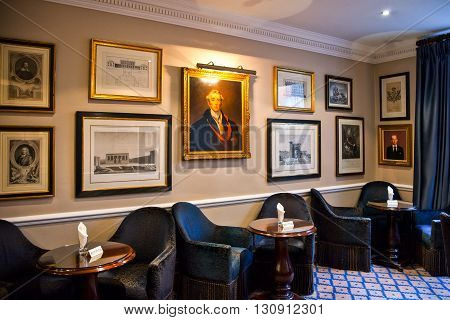 London England - January 28 2012: The James Bond's places the Dukes Hotel Bar in St James street