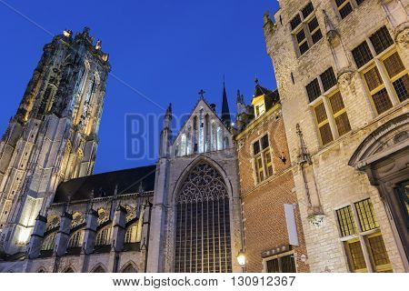Saint Rumbold's Cathedral in Mechelen in Belgium in the morning
