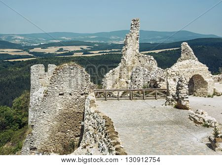 Ruins of the Cachtice castle Slovak republic central Europe. Seat of bloody countess. Travel destination. Castle ruins.