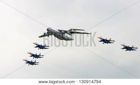 Kubinka, moskow region, Russia - may 21, 2016: IL-76MD and Su-27