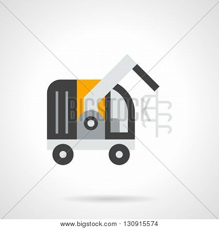 Gray forage harvester with yellow elements. Equipment for seasonal gathering forage crops in fields. Agriculture and farm machinery., agronomy. Flat color design vector icon.