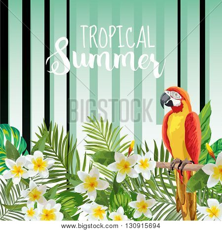 Parrot Bird Background. Retro Pattern. Tropical Background. Tropical Bird. Tropical Flower. Floral Background. Vector Background.
