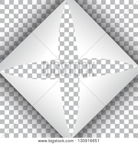 3D Page curl with shadow on blank sheet of paper. The curled paper folded from four corners. The page folded in the form of cross isolated on transparent background.