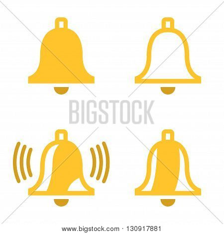 Vector yellow bell icons set on white background. Ringing bell icon
