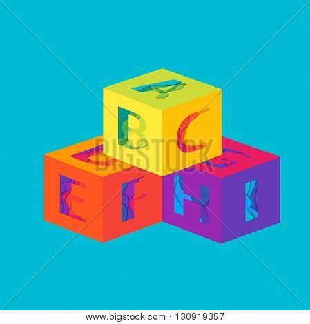 Cubes with Letters. Material design vector template elements. Education and School background.