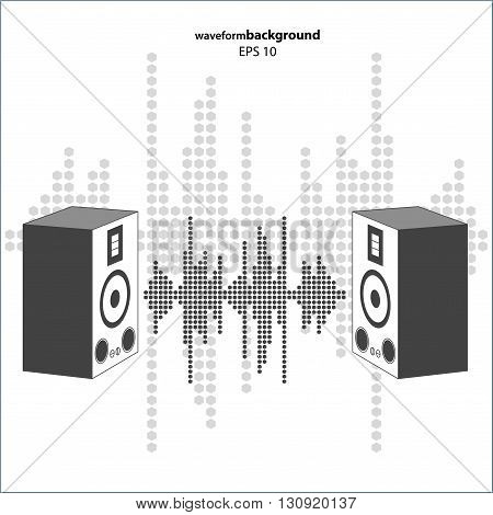 Vector sound wave with speakers. Equalizer Music polygons waveform isolated on white background. May be used in club, radio, party, dj, concerts or the audio technology advertising background.
